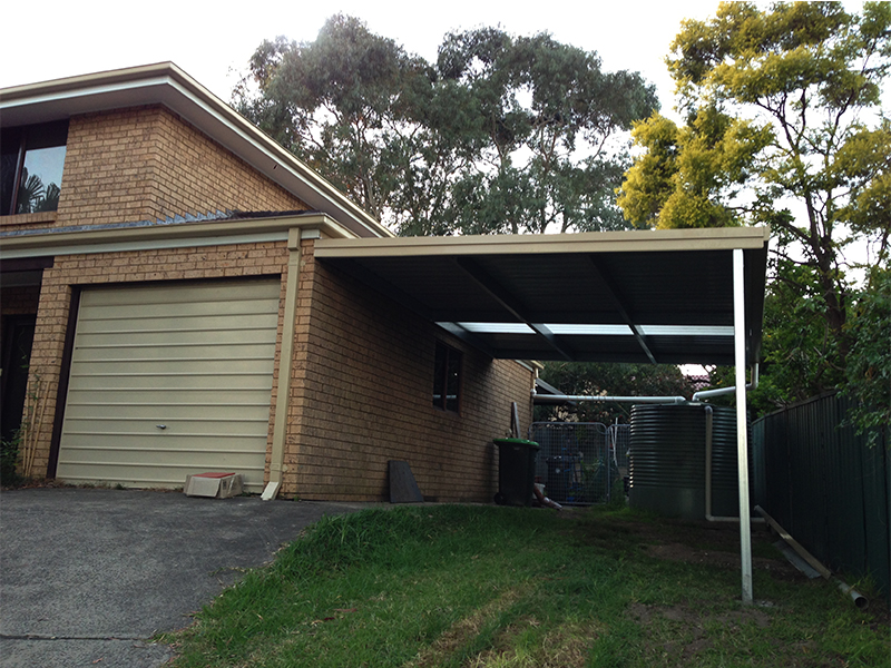 Skillion carport attached to side of home